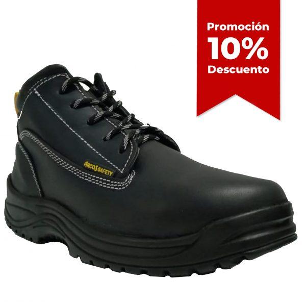 Calzado de seguridad industrial borceguí, marca arcos safety, modelo 102, color negro, con 10 porciento de descuento