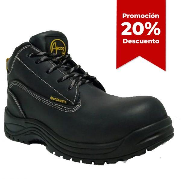 Calzado de seguridad industrial borceguí, marca Arcos Safety, modelo 105, con casquillo, color negro, con 20 porciento de descuento