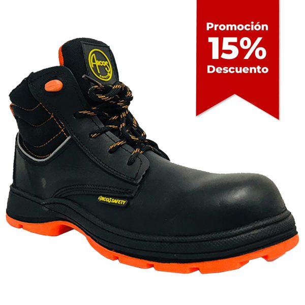 Calzado de seguridad industrial borceguí, marca Arcos Safety, modelo Orion, color negro y naranja, con 15 porciento de descuento