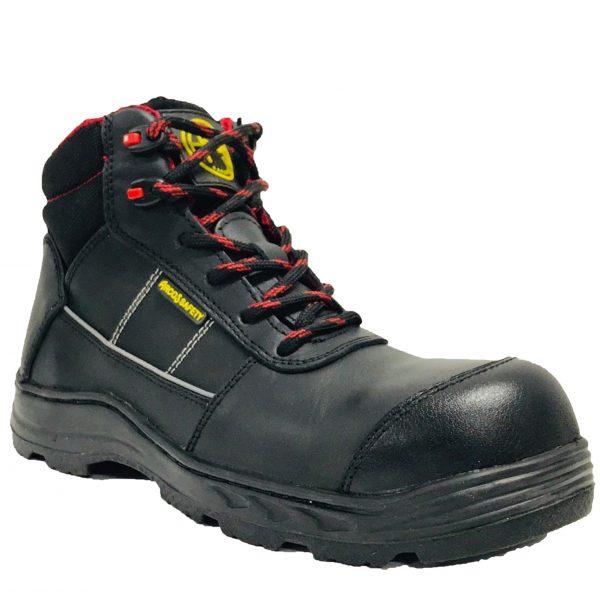 Calzado de seguridad industrial borceguí, marca Arcos Safety, modelo Alfa, con casquillo, color negro y rojo