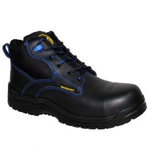 Calzado de seguridad industrial borceguí, marca Arcos Safety, modelo Gamma, color negro y azul