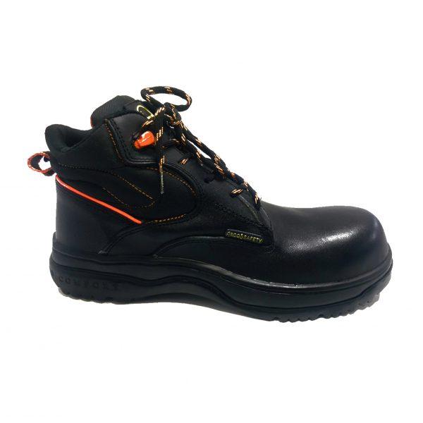 Calzado de seguridad industrial tipo borceguí modelo 9001 marca arcos safety color negro con naranja