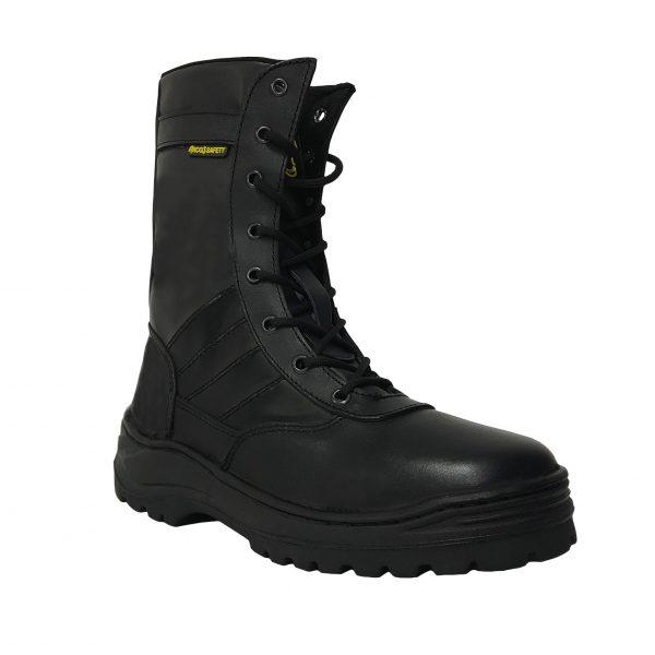 Calzado de seguridad industrial tipo bota sin casquillo, marca arcos safety modelo bota táctica, color negro