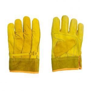 Guante tipo operador con palma reforzada para mayor resistencia, marca Arcos Safety, color amarillo