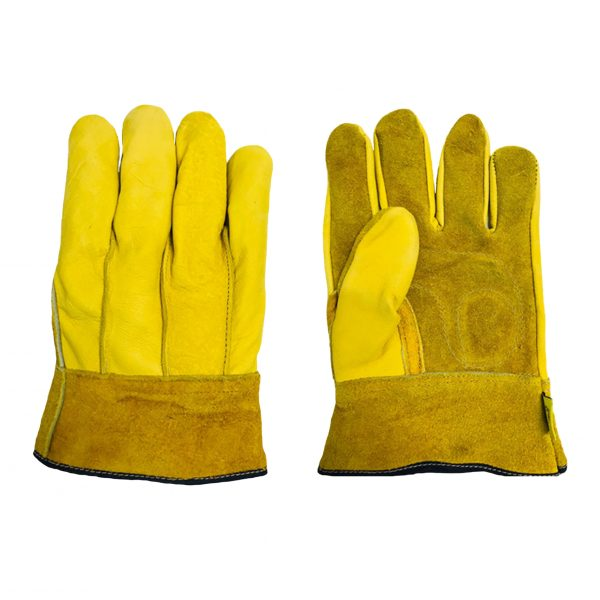 Guante tipo operador mixto con palma de carnaza, marca Arcos Safety, color amarillo