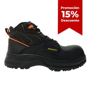 Calzado de seguridad industrial borceguí, marca Arcos Safety, modelo 9001, color negro y naranja, con 15 porciento de descuento