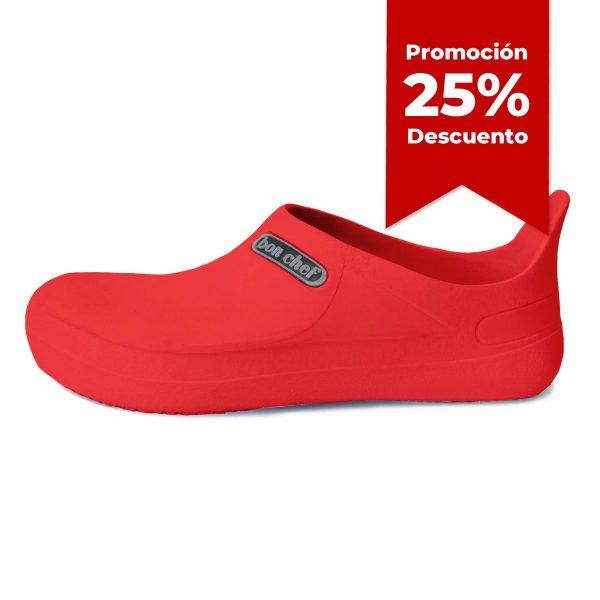Calzado de seguridad para cocina, marca Bon Chef, color rojo, con 25 porciento de descuento, en Grupo Seguridad Pacifico en Guadalajara