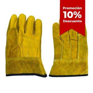 Guante con dorso de carnaza y palma de piel de res, marca arcos safety, color amarillo, con 10 porciento de descuento