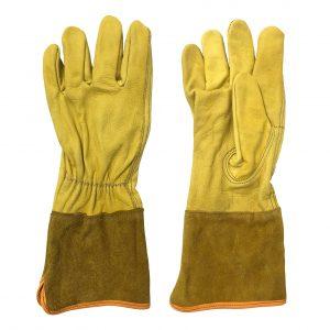 Guante liniero, marca Arcos Safety, piel de res y carnaza, color amarillo