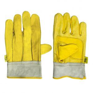 Guante operador con palma gruesa, marca Arcos Safety, color amarillo y gris