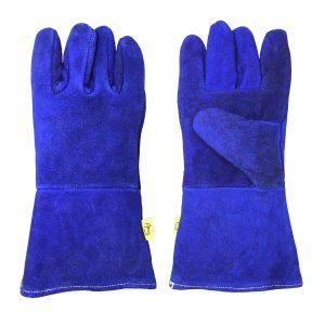 Guante soldador con hilo kevlar, marca Arcos Safety, color azul