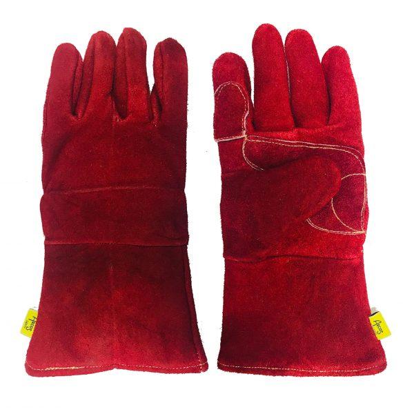 Guante soldador con palma doble reforzada, marca Arcos Safety, color rojo