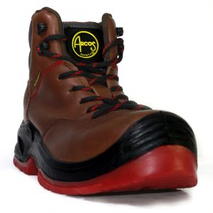 Calzado de seguridad industrial con casquillo dielectrico, marca ARcos Safety, modelo Delta, color café