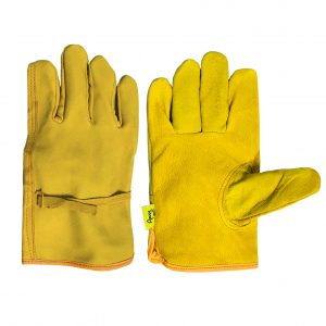 Guante argonero de piel de res, marca Arcos Safety, color amarillo