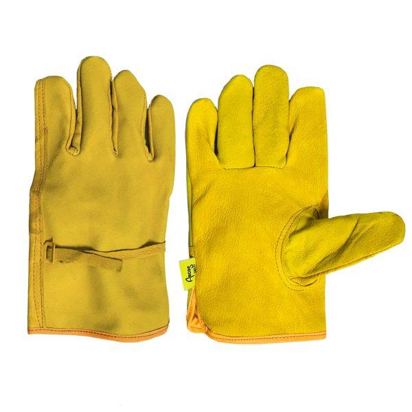 Guante argonero de piel de res, marca Arcos Safety, color amarillo