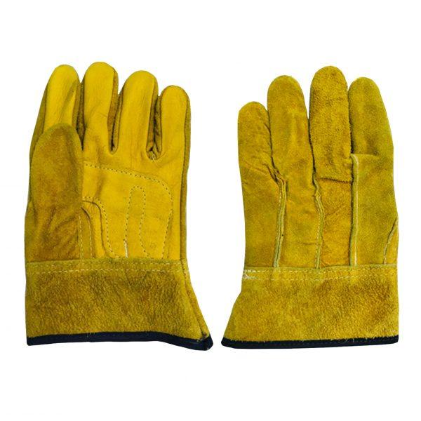 Guante con dorso de carnaza y palma de piel, marca Arcos Safety, color amarillo