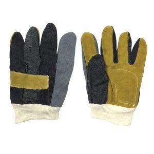 Guante payaso, marca Arcos Safety, con mezclilla y carnaza, color amarillo y azul