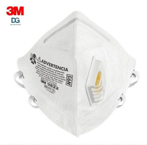 Mascarilla respirador para partículas N95, marca 3M, modelo 9822